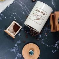 chic metal storage jars with wooden lid tea coffee sugar sealed can kitchen home organizer iron box tea jar cereal dispenser