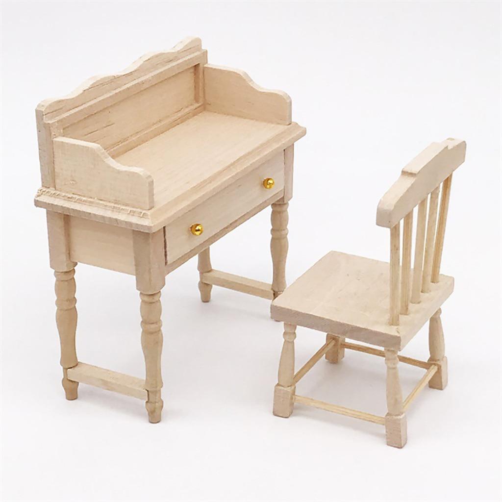 Кукольные аксессуары HIINST, миниатюрный мини-стол для 112, кукольный домик, деревянная настольная мебель, модель, набор, детские игрушки, подар...