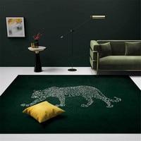 Fashion Luxury Leopard Green Carpet For Living Room Animal Print Rug Kitchen Rugs Washable Bedroom Decor Carpet For Sofa