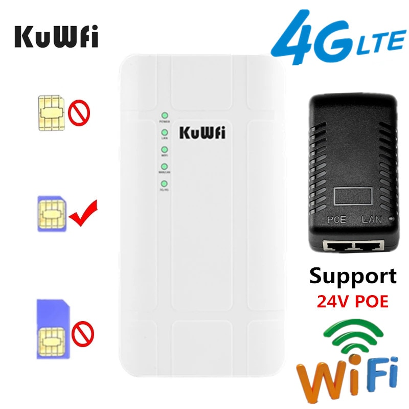 AliExpress - KuWFi Outdoor 4G LTE Router High Power 300Mbps Wireless CPE Router CAT4 3G/4G SIM WiFi Router for IP Camera With 24V POE Adapter