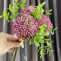 Baies de flores artificielles de haute qualite  3 pieces lot  avec feuilles artificielles  decoration de salon de mariage  decor de maison