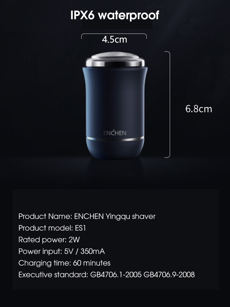 ENCHEN Mini Electric Face Shaver For Men Rechargeable Shaving Beard Machine Wet-Dry Dual Use Waterproof Traveller Electric Razor enlarge