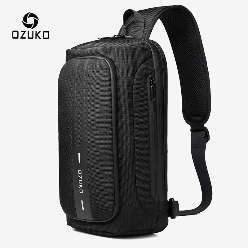 OZUKO-حقيبة صدر متعددة الوظائف للرجال ، مقاومة للماء ، مع شاحن USB ، للاستخدام الخارجي