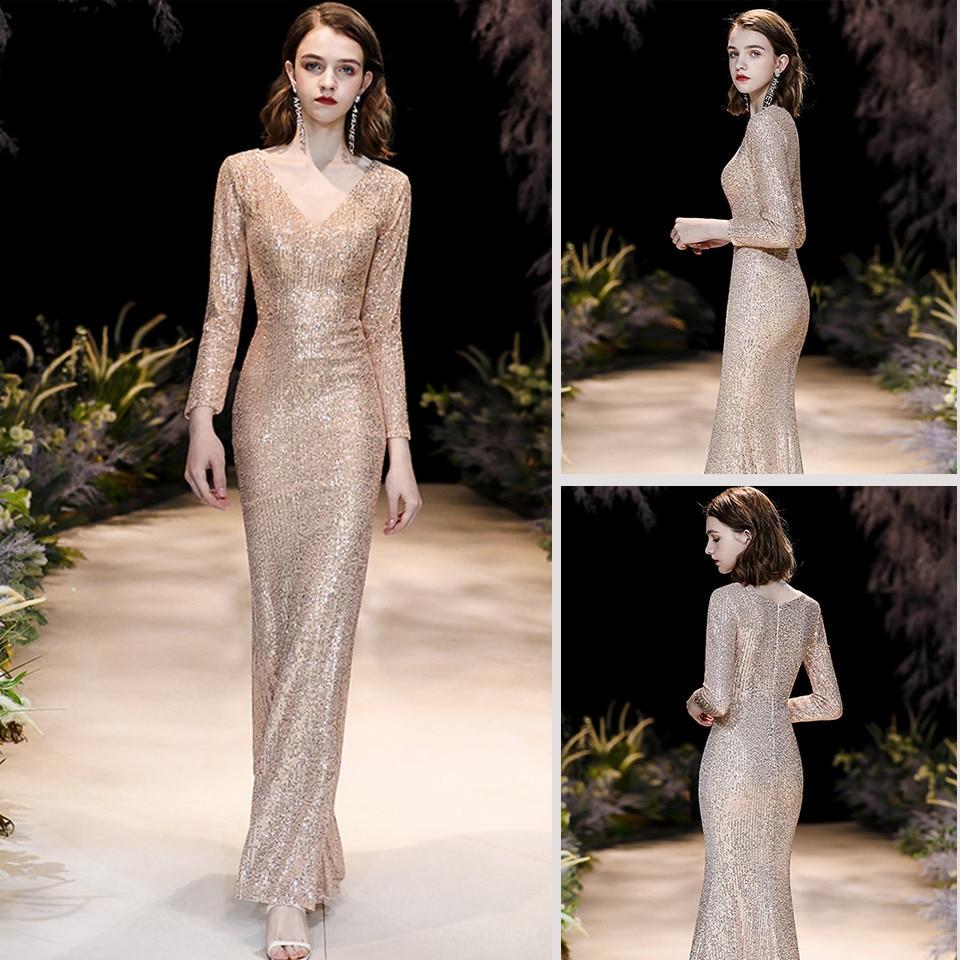 Skyyue-فستان سهرة حورية البحر للنساء ، ياقة على شكل v ، أكمام طويلة ، طول الأرض ، مطرزة ، سحاب ، مقاسات كبيرة ، فساتين حفلات