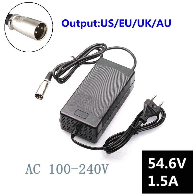 54.6V1.5A зарядное устройство 54,6 v 1.5A Электрический велосипед литиевая батарея зарядное устройство для 48V литиевая батарея пакет XLRM