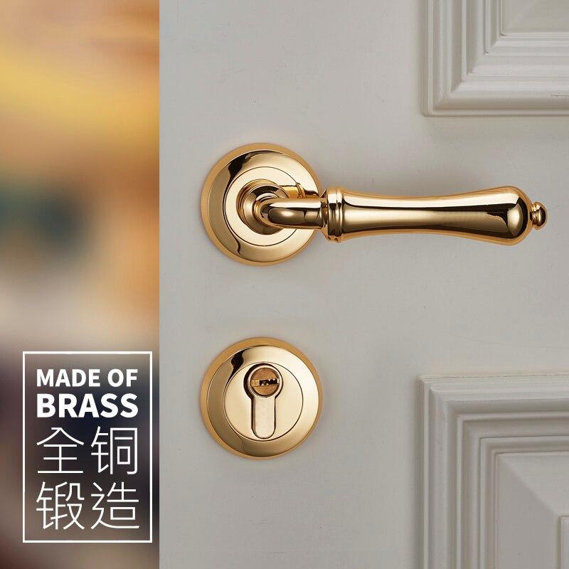 الشمال بسيط الذهبي باب خشبي داخلي سبليت قفل جيان Ou Liangjin غرفة نوم المطبخ قفل الباب بغض النظر عن اليسار أو اليمين