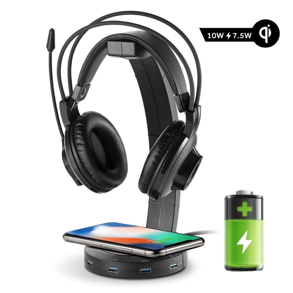 Befon RGB سماعات حامل مع 4 منافذ USB ، دعم الشحن اللاسلكي ، حامل سماعة رأس للاعبين الألعاب ملحقات الكمبيوتر مكتب