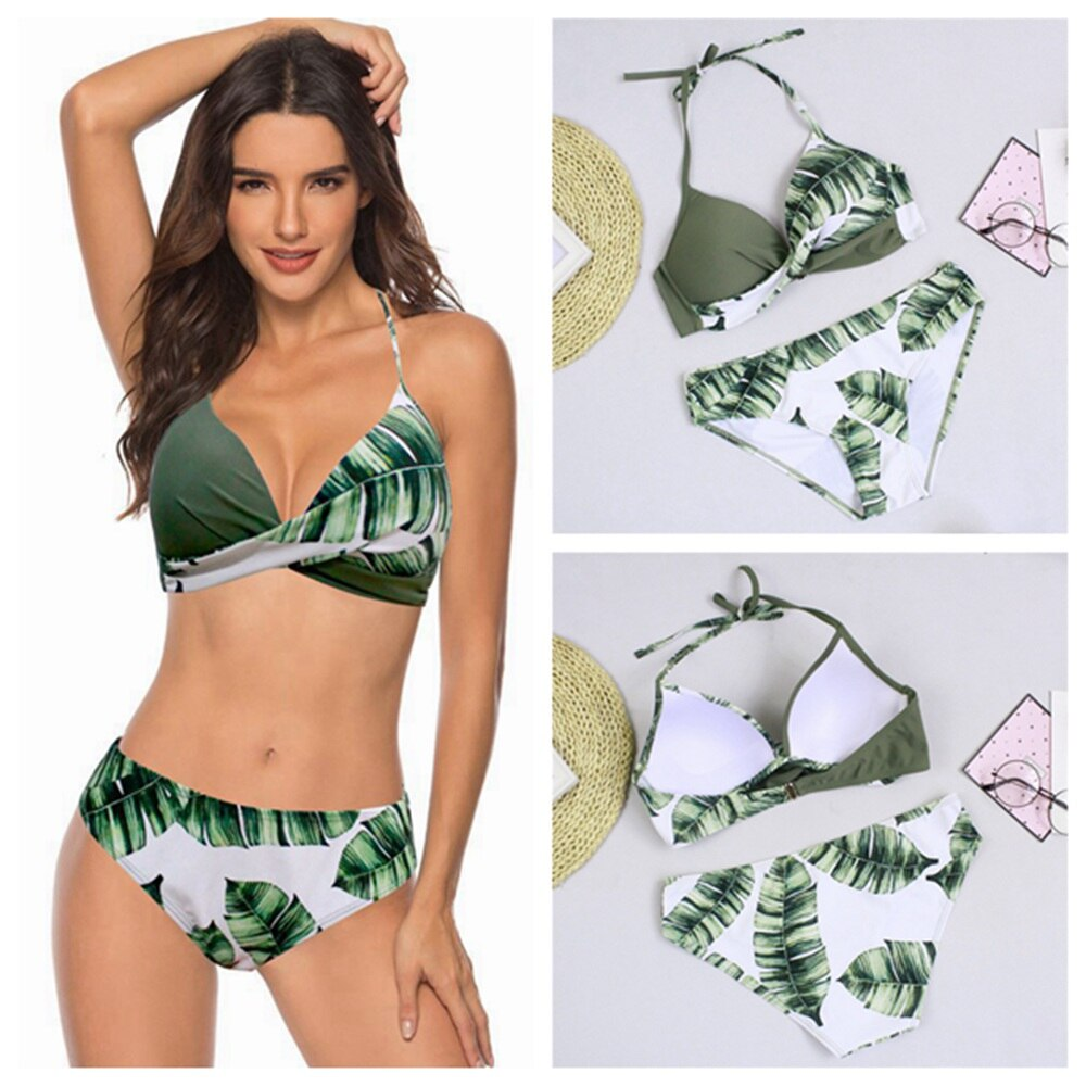 Sexy push up biquini conjunto de biquini conjunto de biquini roupa de banho mulher maiô feminino biquini folha impressão plus size beach wear bikini 2020