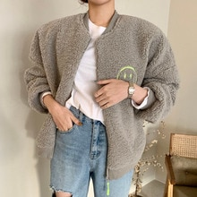 Korean Fashion Women New Jacket Embroidery Lamb Wool Thicken Warm Autumn Winter Long Sleeve Zipper C