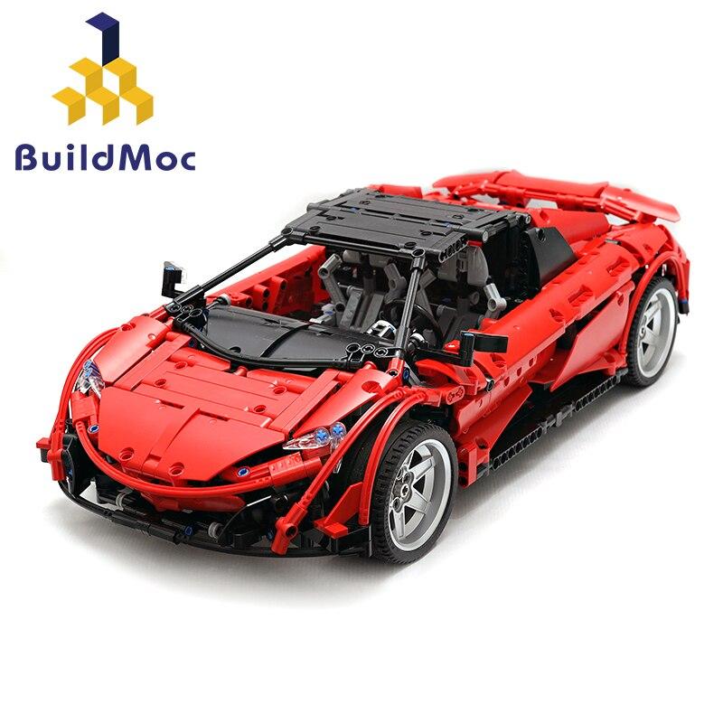 BulidMOC McLarens 675 LT Spider Sports Car Set Fit 6331 Technic Educational Kids Building Blocks Bricks Toys gift