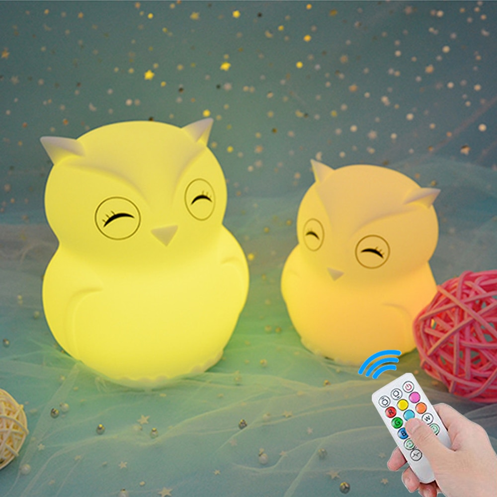 Owl Night Light Touch Sensor Remote Control RGB LED Lamp Dimmable Timer Rechargeable Silicone Bird Lamp for Children Baby Gift