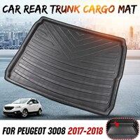 Car Interior Cargo Liner Boot Tray Rear Trunk Cover Matt Mat Floor Carpet Kick Pad For Peugeot 3008 2017 2018