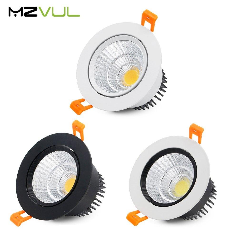 Luz descendente LED COB AC85-265V para interiores, foco de blanco puro de...