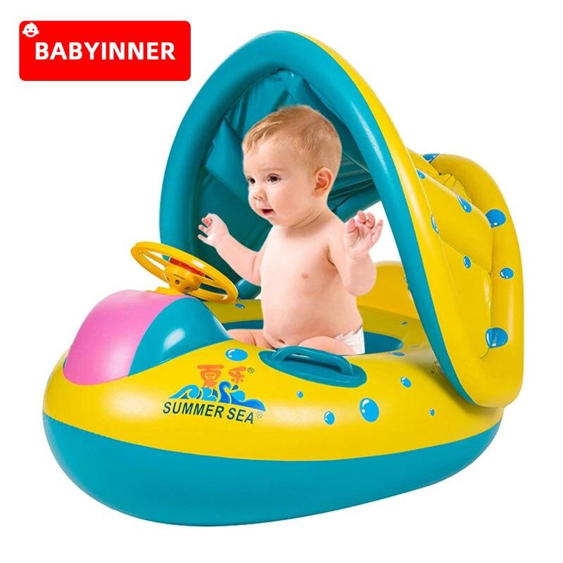 BABYINNER детское кольцо для плавания, утолщенное детское Надувное безопасное сиденье для плавания, тент, яхта для младенцев, водный спорт, пляж,...