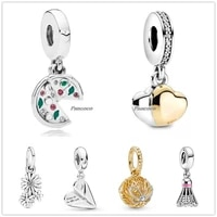 authentic 925 sterling silver two tone double hearte with crystal pendant charm beads fit pandora bracelet necklace jewelry