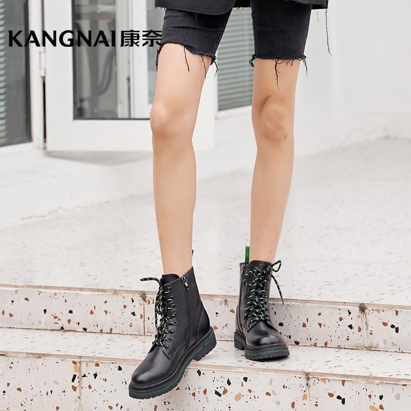 Kangناي النساء الأحذية منصة جلد طبيعي الدانتيل متابعة حذاء من الجلد مارتينز الشتاء أحذية دافئة الإناث