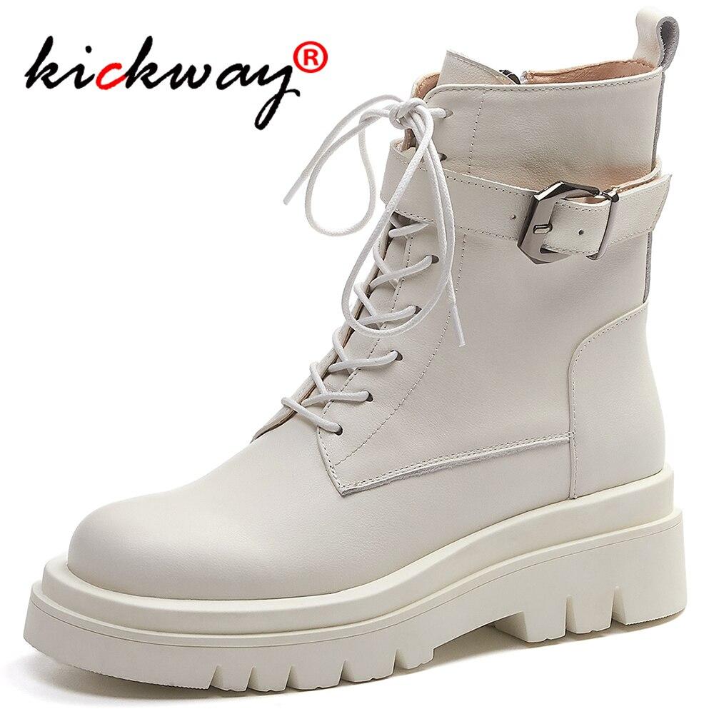 Dedo do pé Rendas até Fivela Kickway Couro Genuíno Preto Ankle Boots Mulher Gladiador Botas Redondo Decoração Bota Branca Tamanhos Grandes 34-43