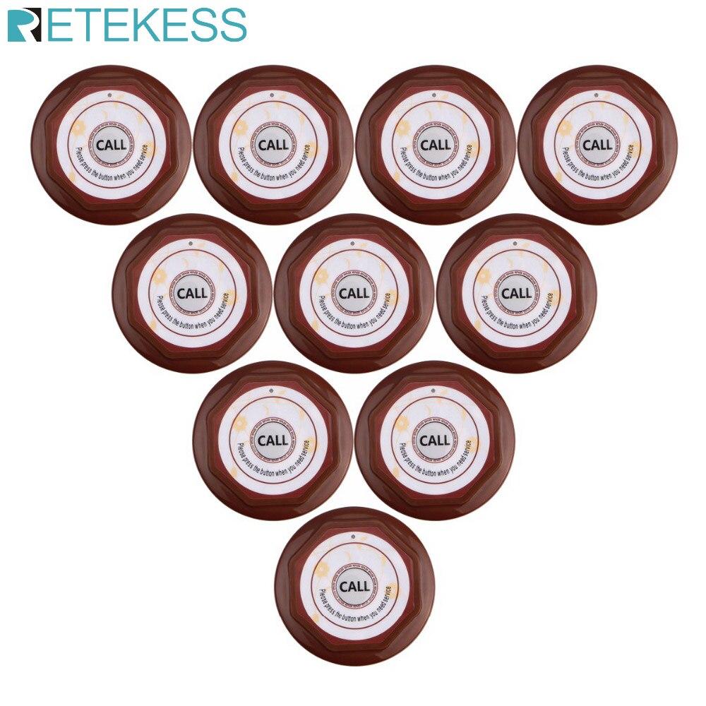 Retekess-لوحة مفاتيح لاسلكية للمطعم مقاومة للماء F3360 ، نظام الاتصال بأزرار للاتصال ، نادل ، مقهى ، 10 قطعة