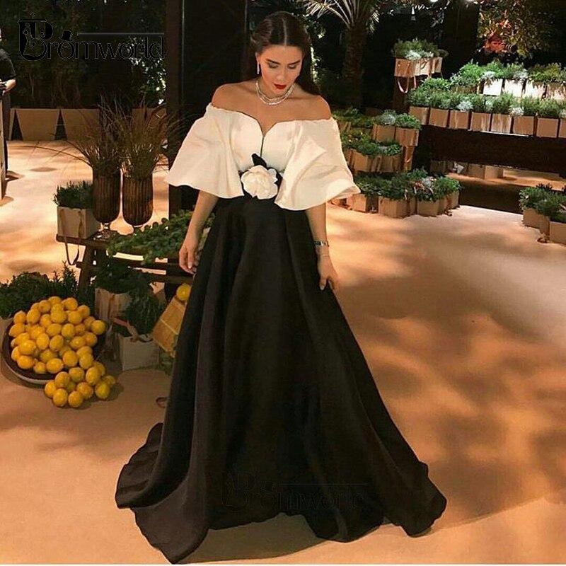 فستان سهرة أوف شولدر مزين بالورود ، أسود وأبيض ، أكتاف عارية ، نمط إسلامي ، دبي ، قفطان ، المملكة العربية السعودية ، ثوب الكرة