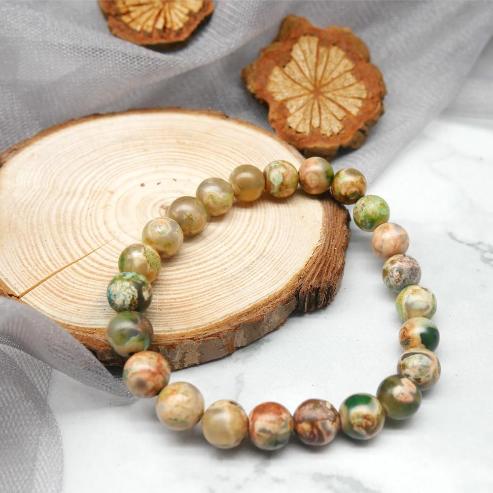 Itaqiu, nuevo, verano, verde, planta acuática, piedra Natural hecha a mano, pulsera de cuentas para pareja de enamorados, regalo para hombre, joyería Bohemia