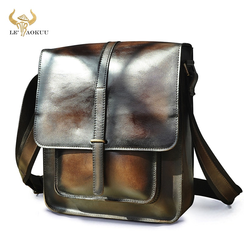 جديد خمر القهوة جودة جلد الذكور حقيبة ساعي عادية حقيبة جلد البقر 12