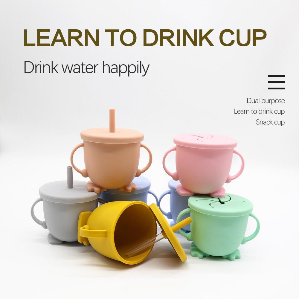 1 комплект, детские силиконовые чашки для воды, портативные герметичные чашки для напитков, детские мягкие чашки для кормления детей