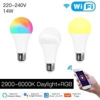 Smart Life     lampe LED a intensite variable  avec telecommande  fonctionne avec Alexa  Echo  Google Home  wi-fi  application Tuya  220-240V  14W RGBCW E27