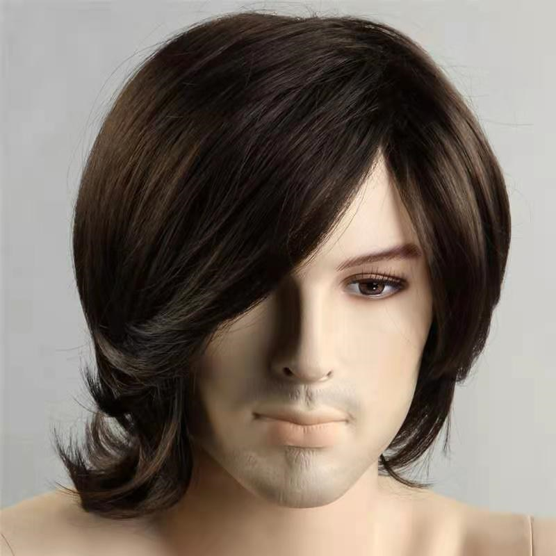 Men Black Synthetic Wigs With Side Part Bangs for Men's Daily Wig Male Wavy Natural Hair Heat Resistant Breathable
