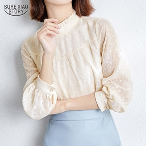 2021 Elegant Fairy Solid Long-sleeved Women Blouse Autumn Chiffon Shirt Lady Fashion All-match Blouse Female Camisas Mujer 15811