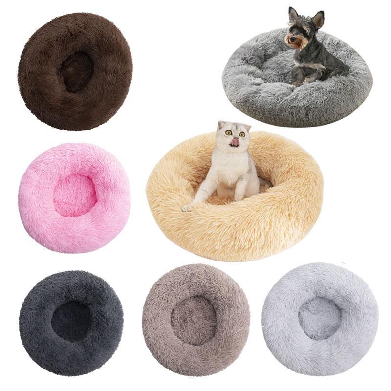 Супер мягкая кровать для домашних питомцев, круглый моющийся длинный плюшевый домик для собак, вельветовые коврики, диван для собак, чихуах...