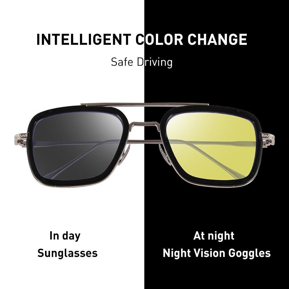 CAPONI Nacht Vision Tony stark Sonne Brille Gelb Objektiv Driving Shades Für Männlichen 2020 Neue UV Schützen Augen Sonnenbrille Männer BSYS6618