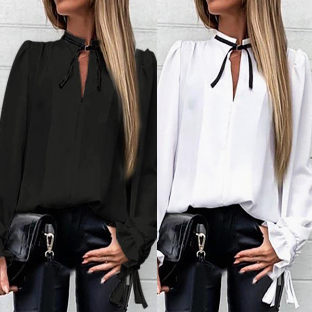 Blusas Mujer 2019 gasa mujer moda v-cuello sólido volantes puño atado cuello camisa manga larga Blusa # P30