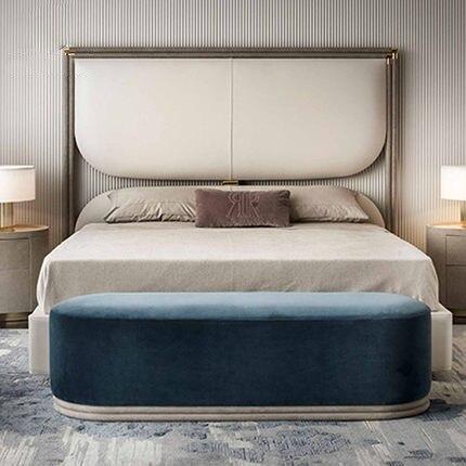 Китайская Современная прочная деревянная двухместная кровать в простом стиле с