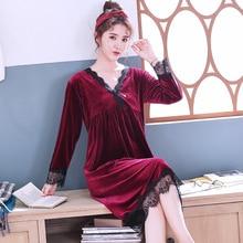 Or velours chemise de nuit femme automne joint à manches longues décontracté chaud couleur unie service à domicile hors saison promotion