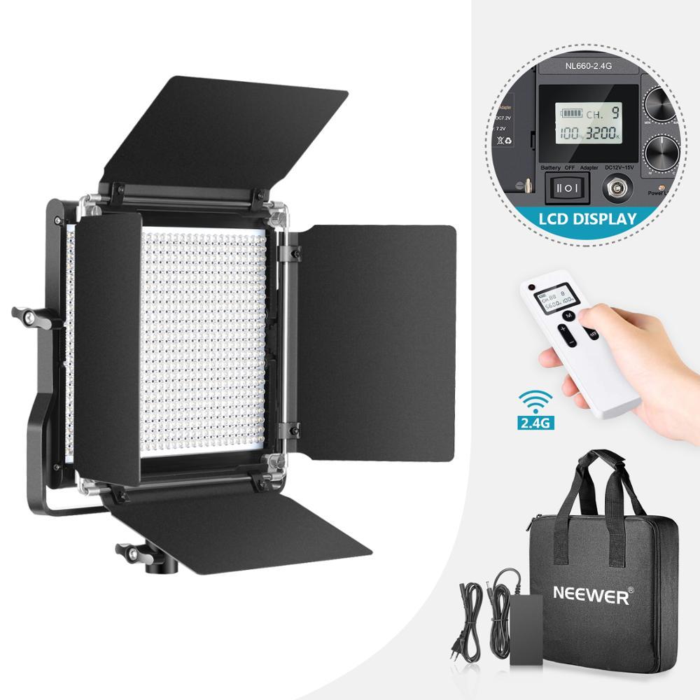 Neewer-مصباح فيديو LED 2.4G 660 ، إضاءة متقدمة ، لوحة LED ثنائية اللون قابلة للتعتيم ، شاشة LCD ، جهاز تحكم عن بعد لاسلكي 2.4 جيجا ، منتج بورتريه