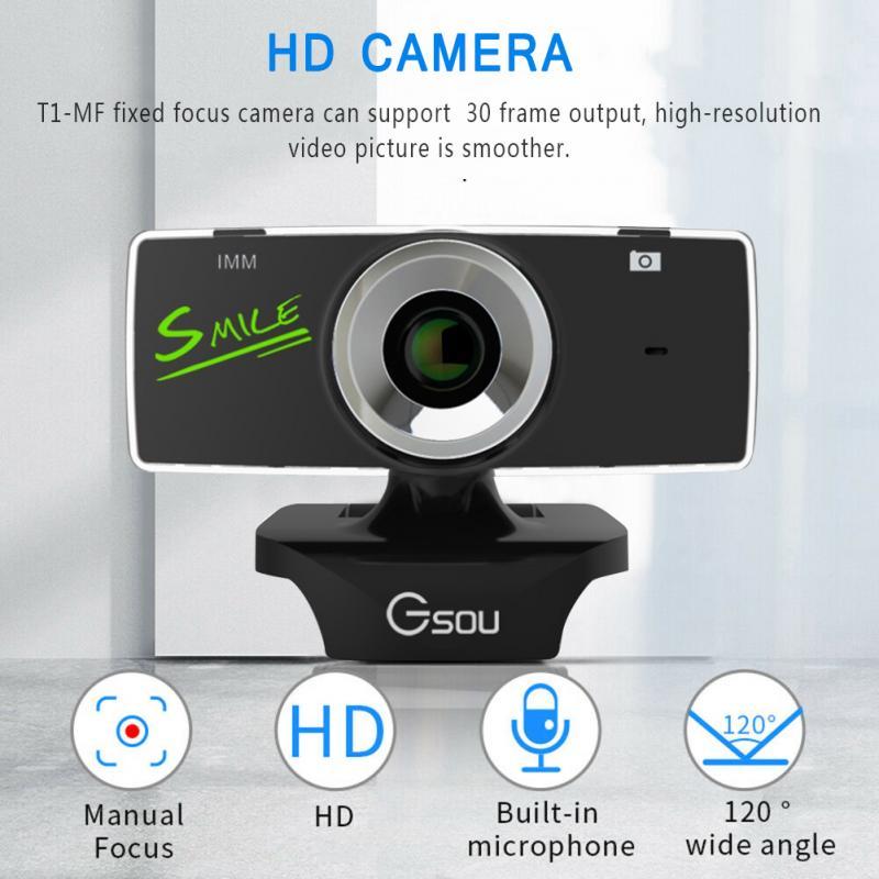 Cámara Web USB 2,0 HD Webcam cámara USB grabación de vídeo cámara Web con micrófono para ordenador PC Cámara giratoria de 360 grados