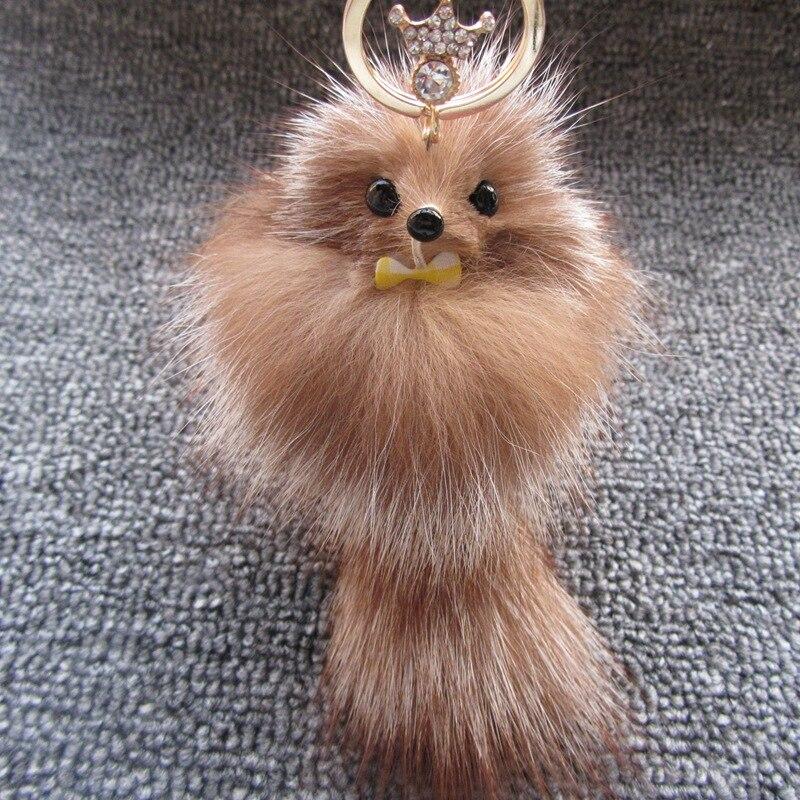 Cute Fluffy Bow-knot Fox Ball Key Chain Rings Pompom Real Fox Fur Charm Keychain Car Bag Key Ring Women Jewelry
