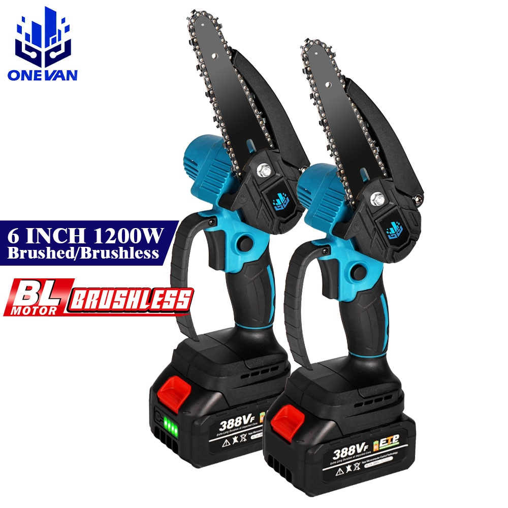 6 inch 1200w mini electric chain saw with battery indicator 128vf 388vf rechargeable woodworking tool for makita 18v battery 6 Inch 1200W Mini Electric Chain Saw With Battery Brushed/Brushless Rechargeable Woodworking Tool For Makita 18V Battery EU Plug