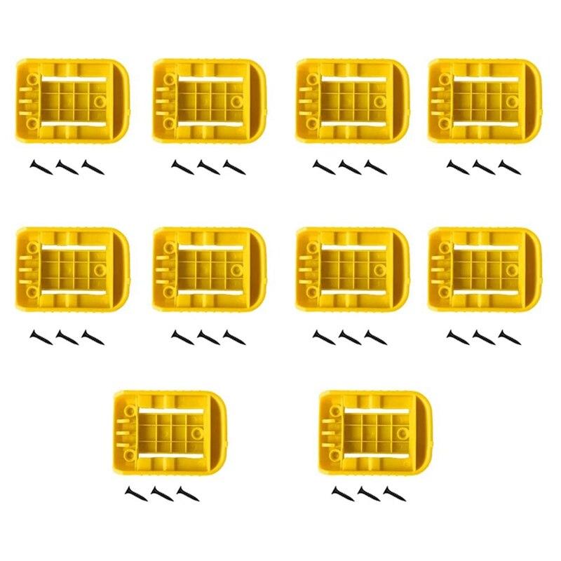 10 حزمة بطارية جاهزة قفص الاتهام/جبل حامل للبطارية ديوالت يصلح لمدة 20 فولت 60 فولت الأصفر (لا بطارية)