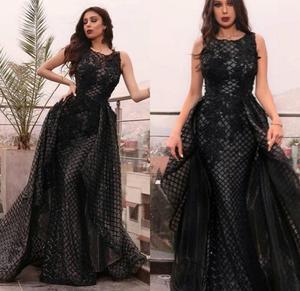 black prom dresses 2020 crew neckline detachable skirt sparkly sequins long evening dresses sequins
