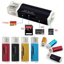 متعدد الكل في 1 المصغّر usb 2.0 ذاكرة محوّل قارئ البطاقات ل Micro SD SDHC TF M2 MMC MS PRO DUO قارئ بطاقات