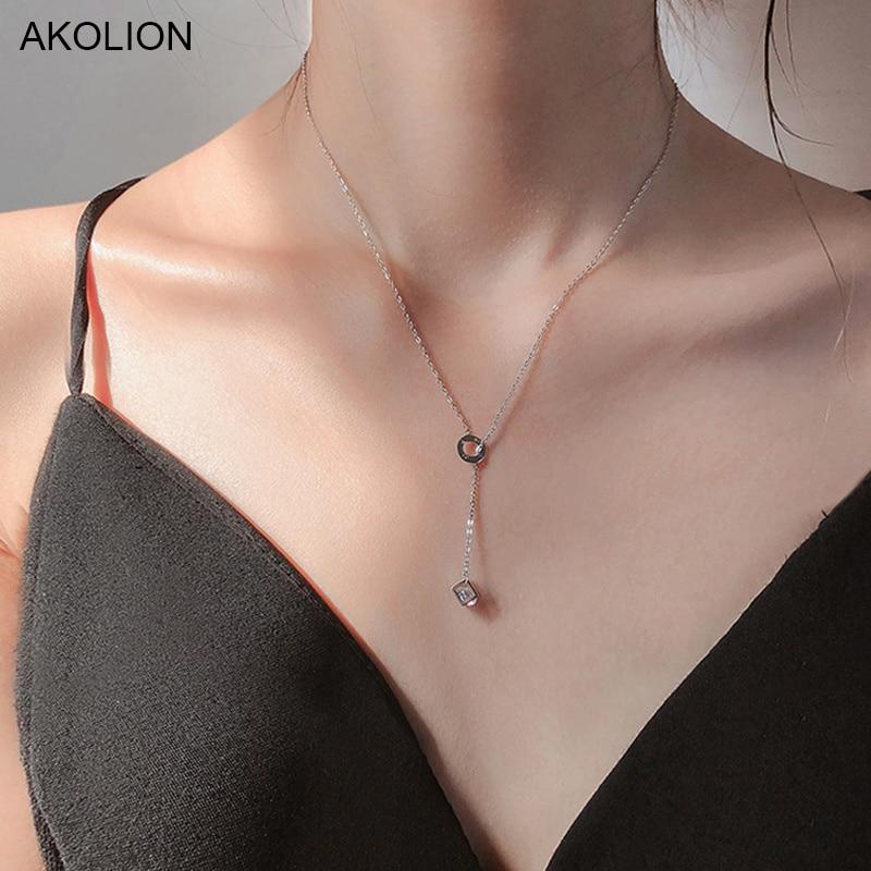 Серебряное ожерелье-чокер с подвеской в виде магического кубика 925 ААА Циркон внутри ожерелье-чокер открытое ожерелье с круглой буквой для ...