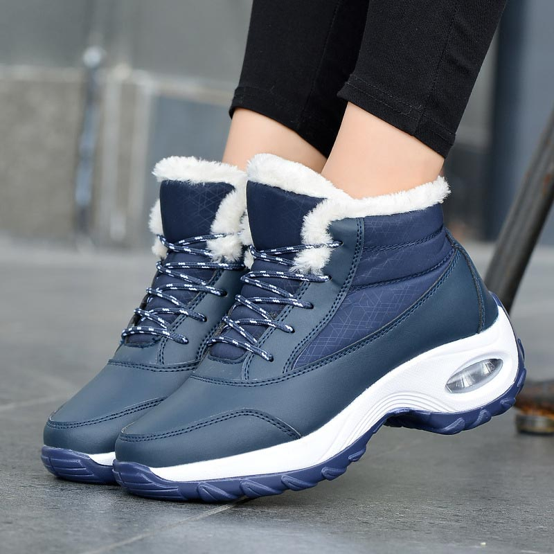 Botas de nieve con plataforma para mujer, zapatos planos cálidos, impermeables, de...