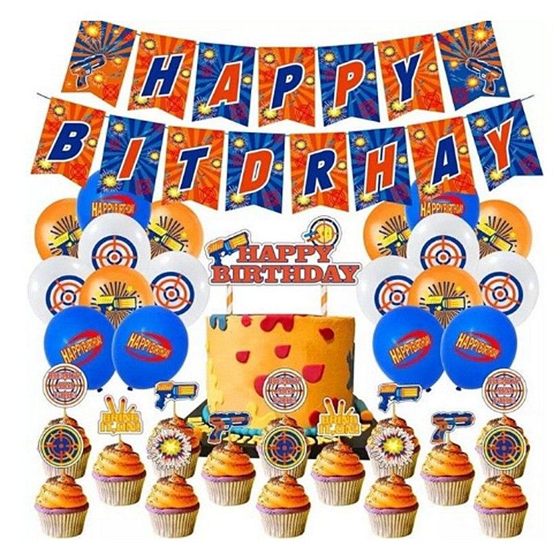 1 Набор Дротика, воздушные шары серии Nerf, бластеры, украшение для баннера, Дротика, войвечерние, фовор, торт, Топпер, детская игрушка