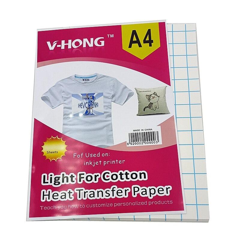 Хлопковая сублимационная бумага 8,26x11,7 дюймов, термоклейкая ткань, белая химическая Термотрансферная Бумага для футболок, легкая бумага