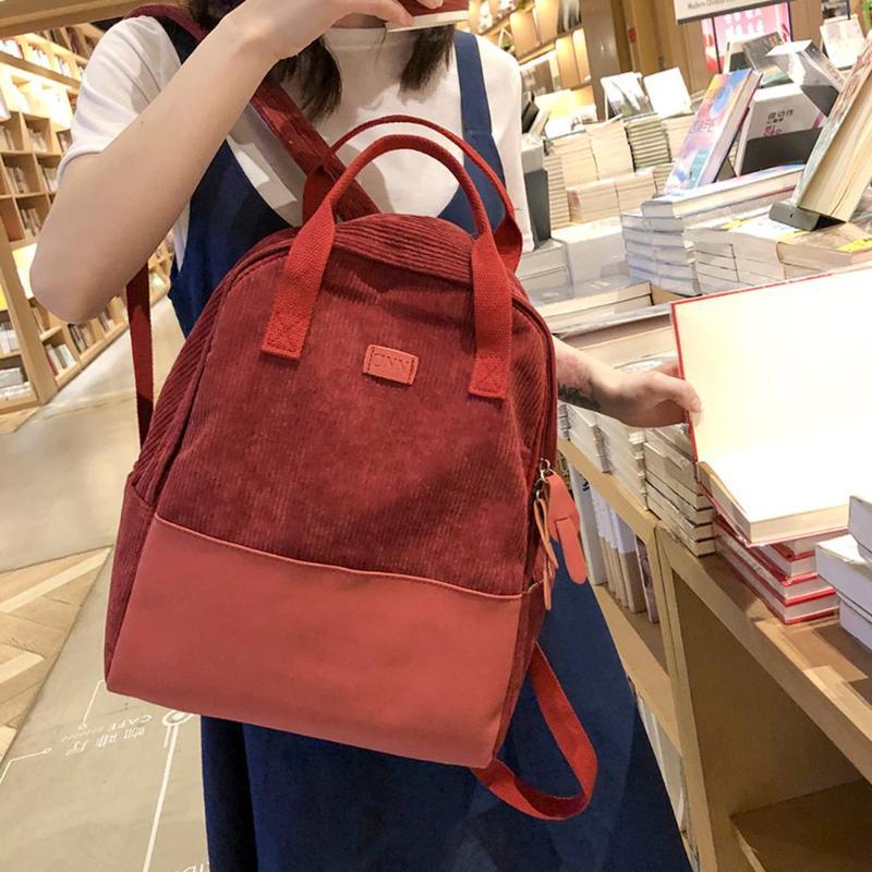 Modne plecaki turystyczne damskie torby szkolne o dużej pojemności plecak styl preppy sztruks plecak tornister Top-torby z uchwytami