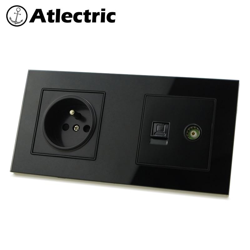 Enchufe estándar Atlectric FR enchufe RJ45 Internet ordenador TV televisión Jack Puerto enchufe doble pared toma de corriente 172mm * 86mm enchufes para pared