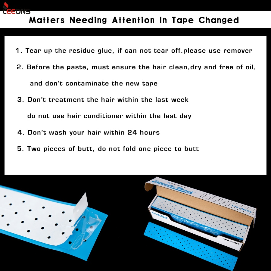 Leeons Extenda Bond Plus Transparent Reusable Double Side Adhesive Waterproof Tape Double-Sided Adhesive Blue Breath Holes Hairs