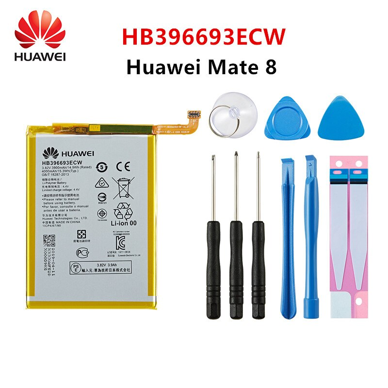 Hua Wei 100% Orginal HB396693ECW 3900mAh Battery For Huawei Mate 8 NXT-AL10 NXT-TL00 NXT-CL00 NXT-DL00 mate8 Batteries +Tools