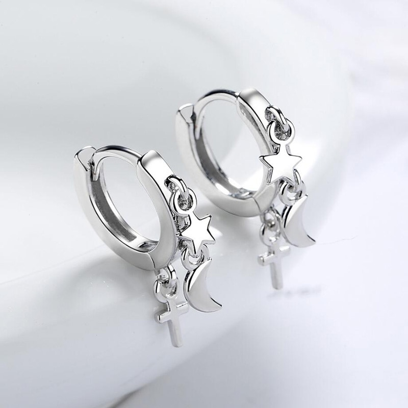 KOFSAC Cute Women Earrings Star Moon Cross Tassel Jewelry New Trendy 925 Sterling Silver Earring Lad